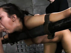 Beauty enjoys simultaneous rough deepthroating and vicious doggystyle drilling