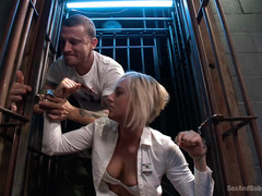 Blonde officer gets her anal and pussy punished by stud after a failed interrogation