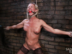 Mature big boobs blonde suffers from wicked bondage and lusty pussy punishment