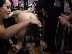 Hot raven-haired beauty gets her clothes ripped off and made to walk in public