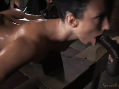 Tormenting dark-haired beauty with excessive deepthroating and persistent fucking