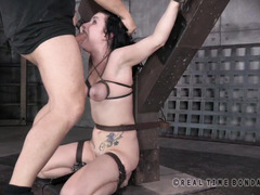 Bounded petite sweetheart must show her two masters how cock hungry she is