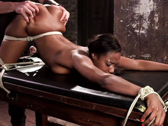 Sexy ebony with beautiful bubble butt enjoys rough sexual tormenting from master