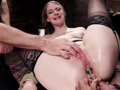 Blonde learns how to take a dick in her pussy while her other holes are stuffed