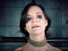 Skinny brunette wants her members to hate, defile and damage her for being a slut