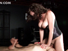 Face sitting mistress biting jizz loaded shaft