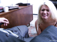 Gorgeous blonde secretary receives rough double penetration for her fuck holes