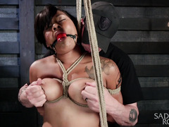 Busty ebony is begging master wildly to let her cum while receiving punishment