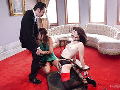 Brunette girlfriend gets to punish slave girl when she misbehaves with horny stud