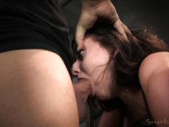 Petite brunette begs her tough and demanding members to stop making her cum