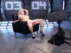 Explosive and raunchy fucking machine fun with big boobs blonde sweetheart