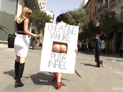 Mistress punishes cheating whore on the streets by making babe removes her clothes