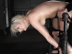 Vicious doggystyle drilling for lovely tattooed blonde slave from black master