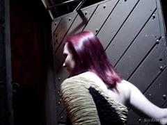 Redhead chick receives heinous gangbang punishment inside a public toilet