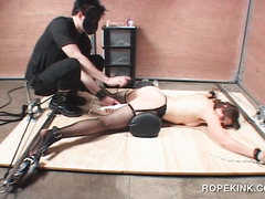 Chained sex slave pussy nailed with vibrator