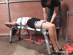Tied up brunette gets tortured and fucked