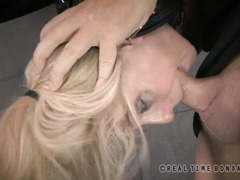 Tormenting deepthroat punishment for gorgeous big boobs blonde slave