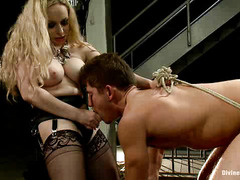 Big tits blonde mistress orgasmic pleasure is more important than stud slave