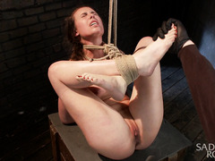 Tenacious fingering and punishment for beautiful brunette's wet snatch