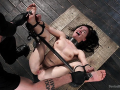 Petite brunette could not stop screaming from her rough and painful torture