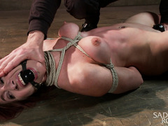 Raw pain pleasures for gorgeous redhead through rough flogging and paddling