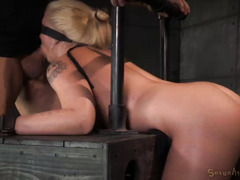 Blindfolded big boobs blonde enjoys barbarous doggystyle drilling from master