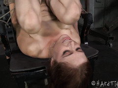 Stunning brunette gets her pussy awfully swollen from mistress relentless torturing