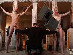 Two breathtakingly beautiful blondes receive severe punishment for their hot cunts