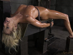 Ferocious fucking machine pounding and rough deep throating for busty blonde