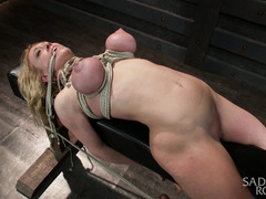Big tits blonde could not stop moaning from master's merciless pussy torture