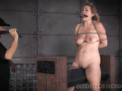 Lovely blonde is punished by her members for having orgasms without permission