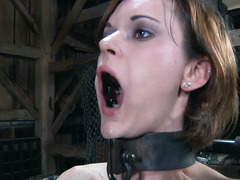 Petite brunette is being hypnotized and punished to be a submissive slave
