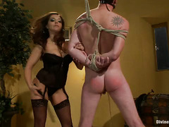 Gorgeous brunette mistress owns stud's unworthy cock during a threesome roleplay