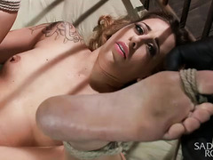 Sadistic fingering, whipping and flogging for tied up beauty's smoking hot body