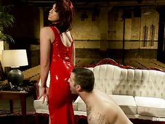 Demanding mistress only allows stud to receive pleasures after she gets hers