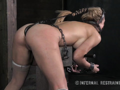 Big boobs blonde is moaning wildly from her painful candle and caning punishment