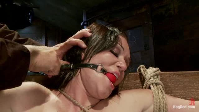 A big titted newcomer cums helplessly in tight predicament