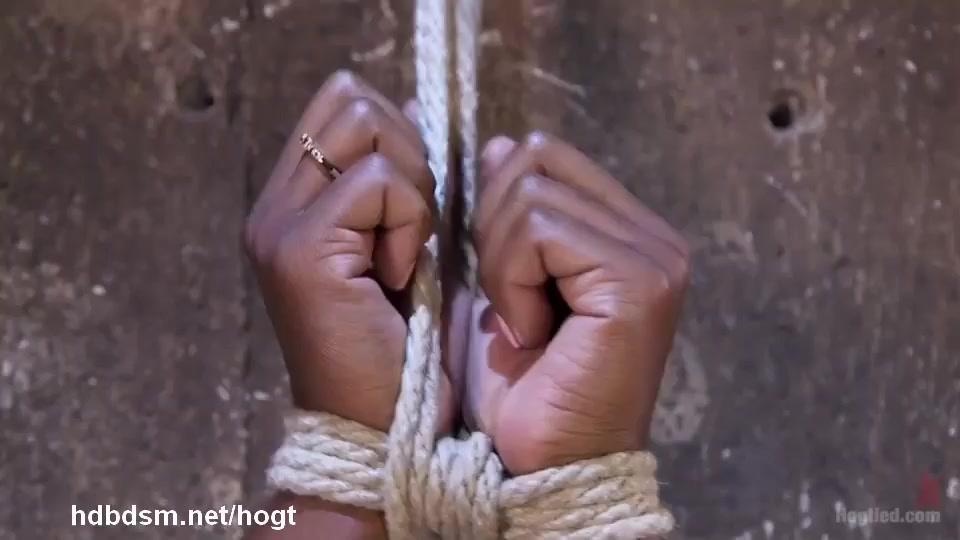 Mind-blowing orgasms for sweet ebony in bondage suspension punishment