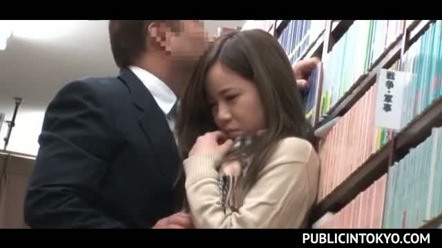 Nasty Asian teacher seducing and fucking his student in library